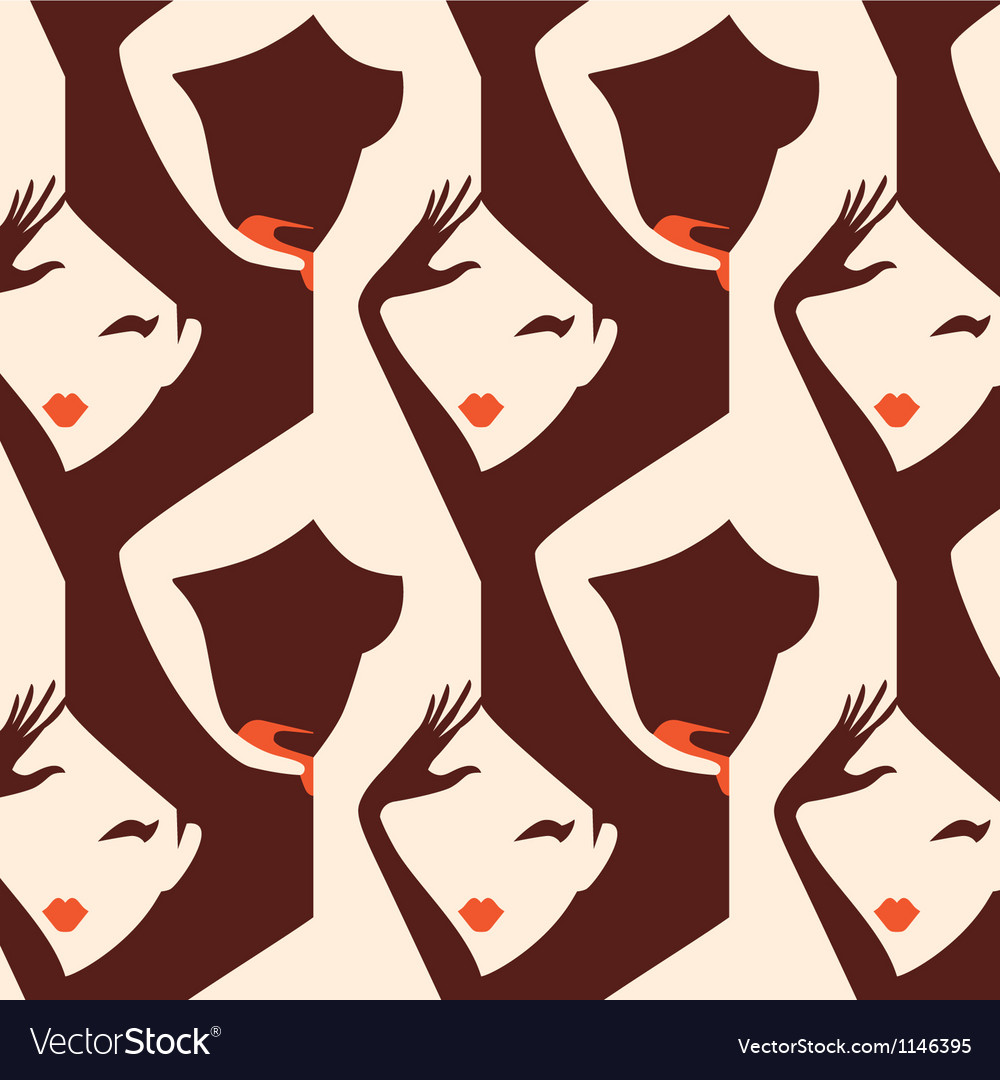 Woman seamless pattern vector image