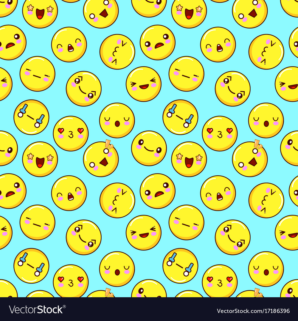 Cute smiley face seamless pattern background vector image voltagebd Gallery