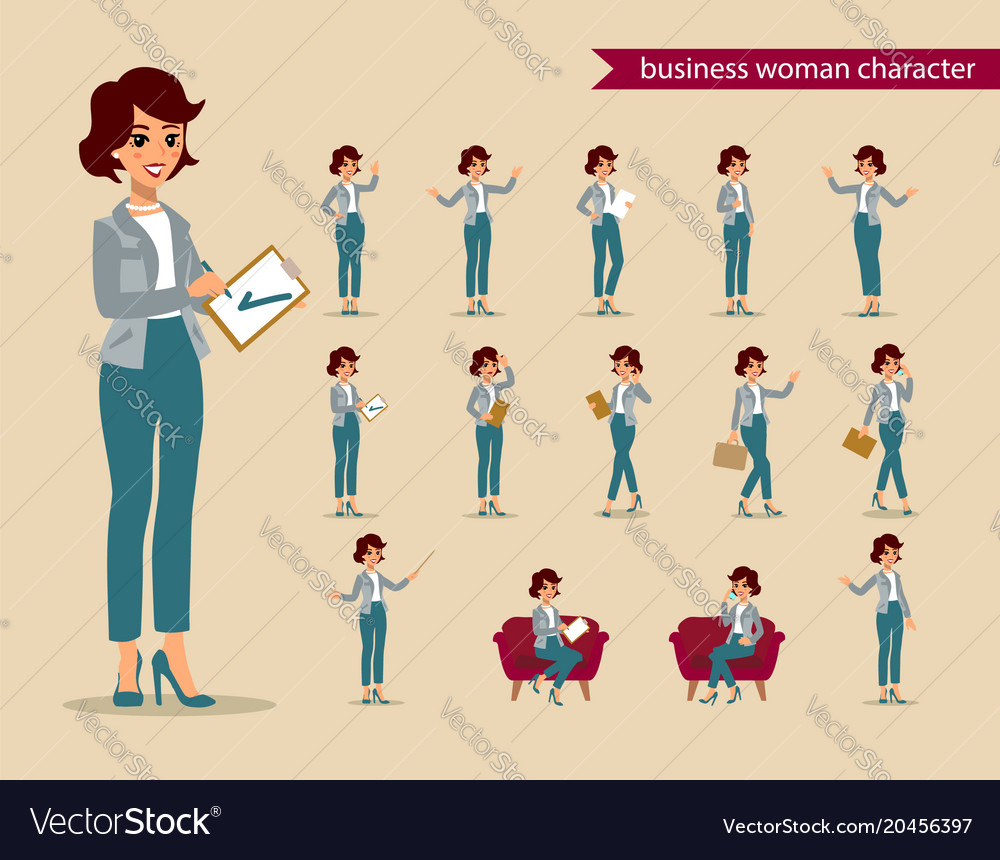 businesswoman character set animate character vector image