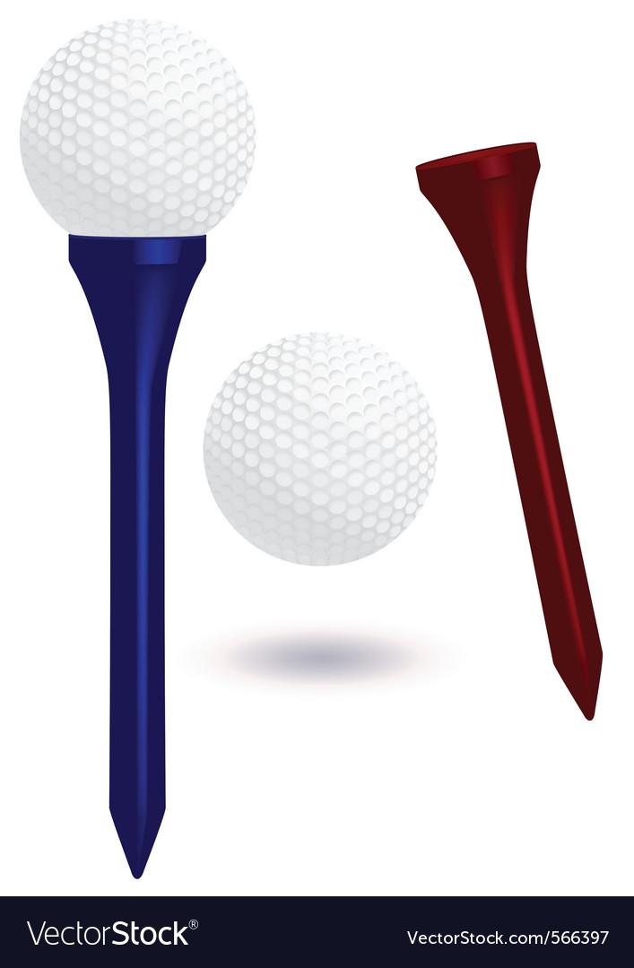 Golf ball and tee vector image
