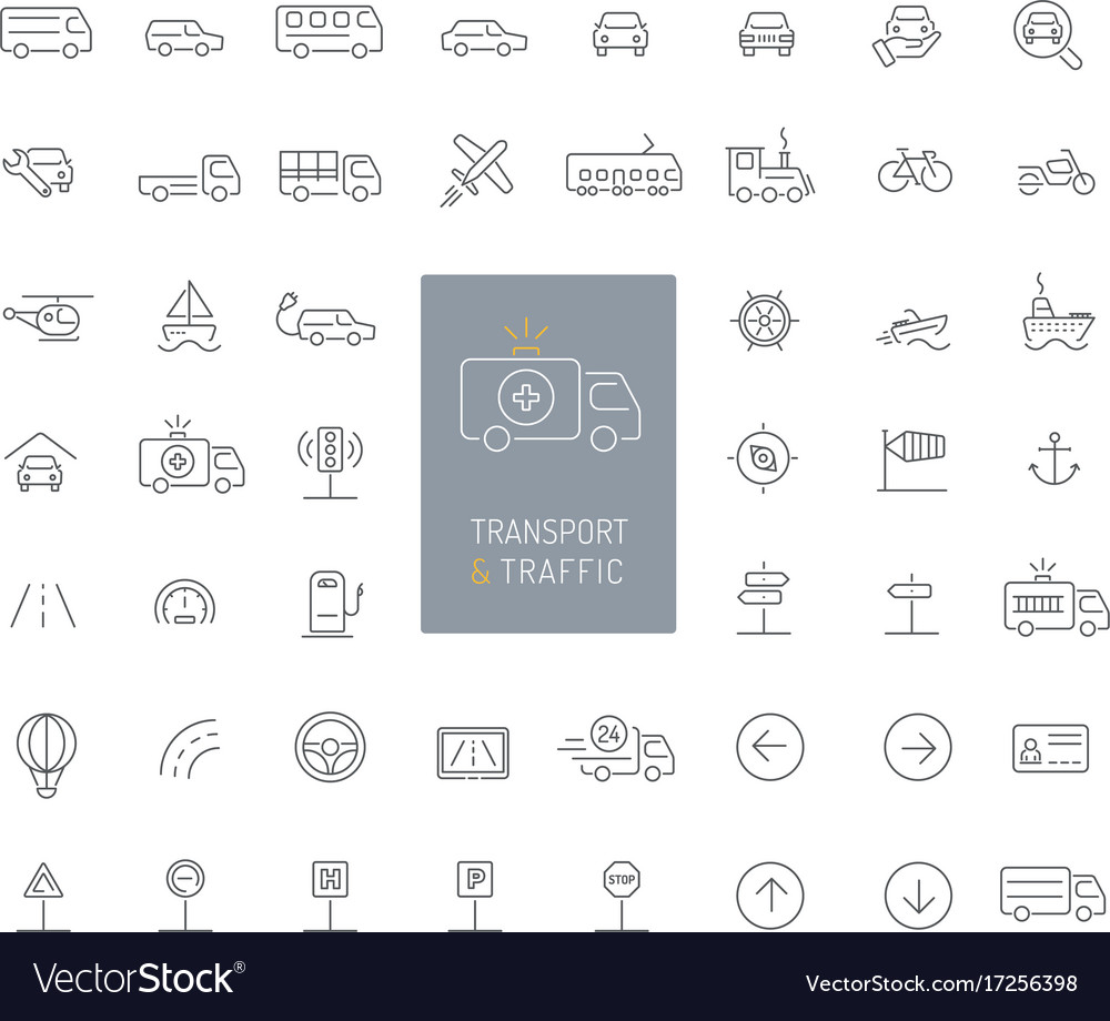 50 transportation traffic and vehicles thin line vector image