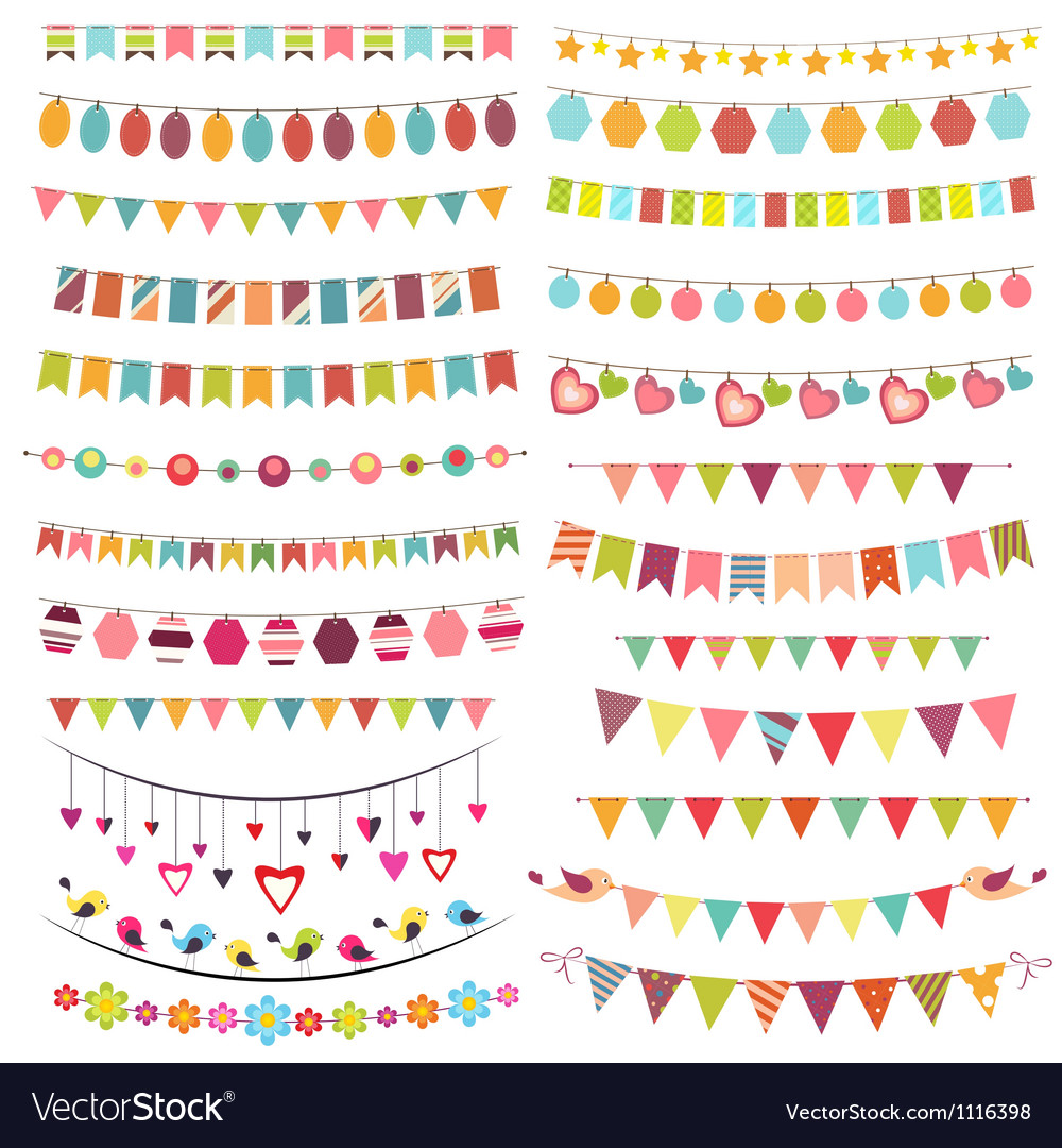Colorful bunting and garlands vector image