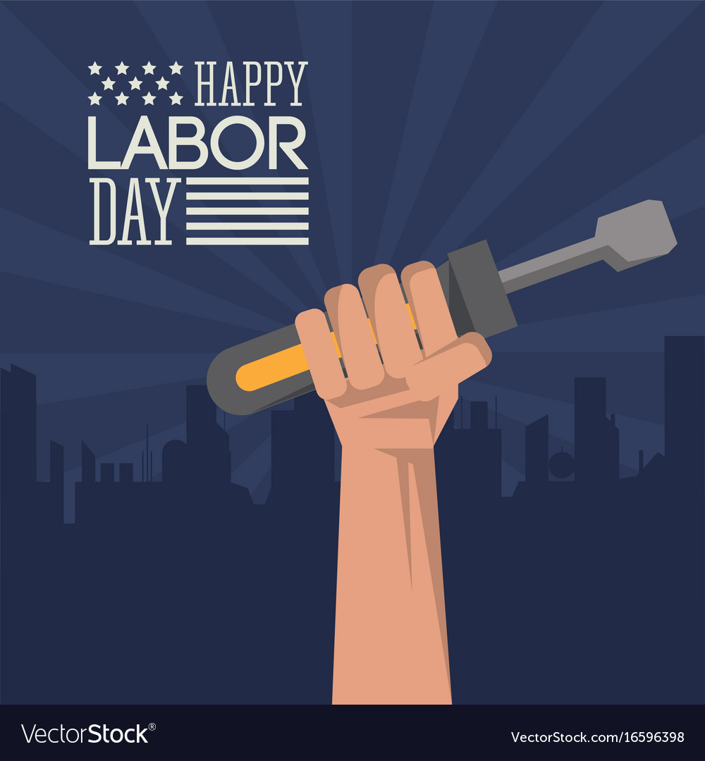 Colorful poster of happy labor day with dark blue vector image