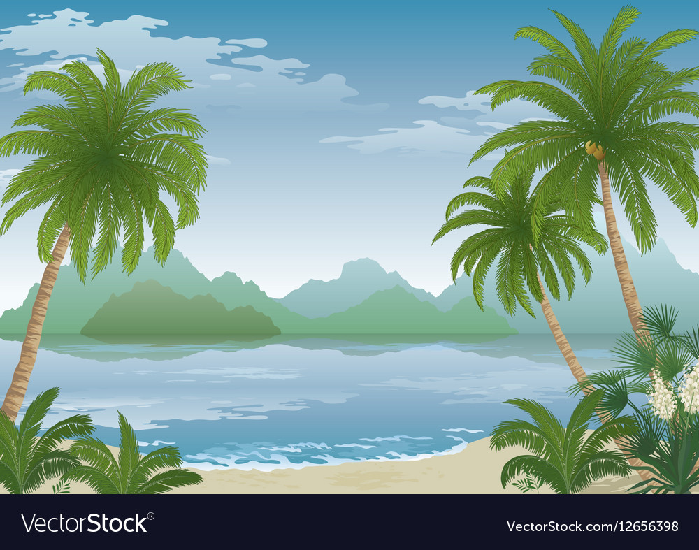 Palm on Ocean Beach Flowers and Mountains vector image