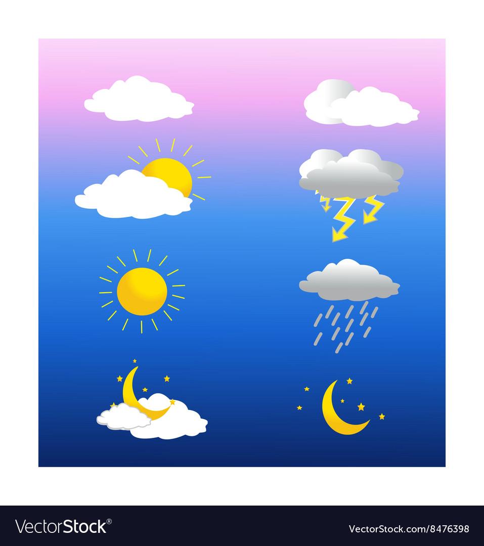 weather sun and rain icons moon night
