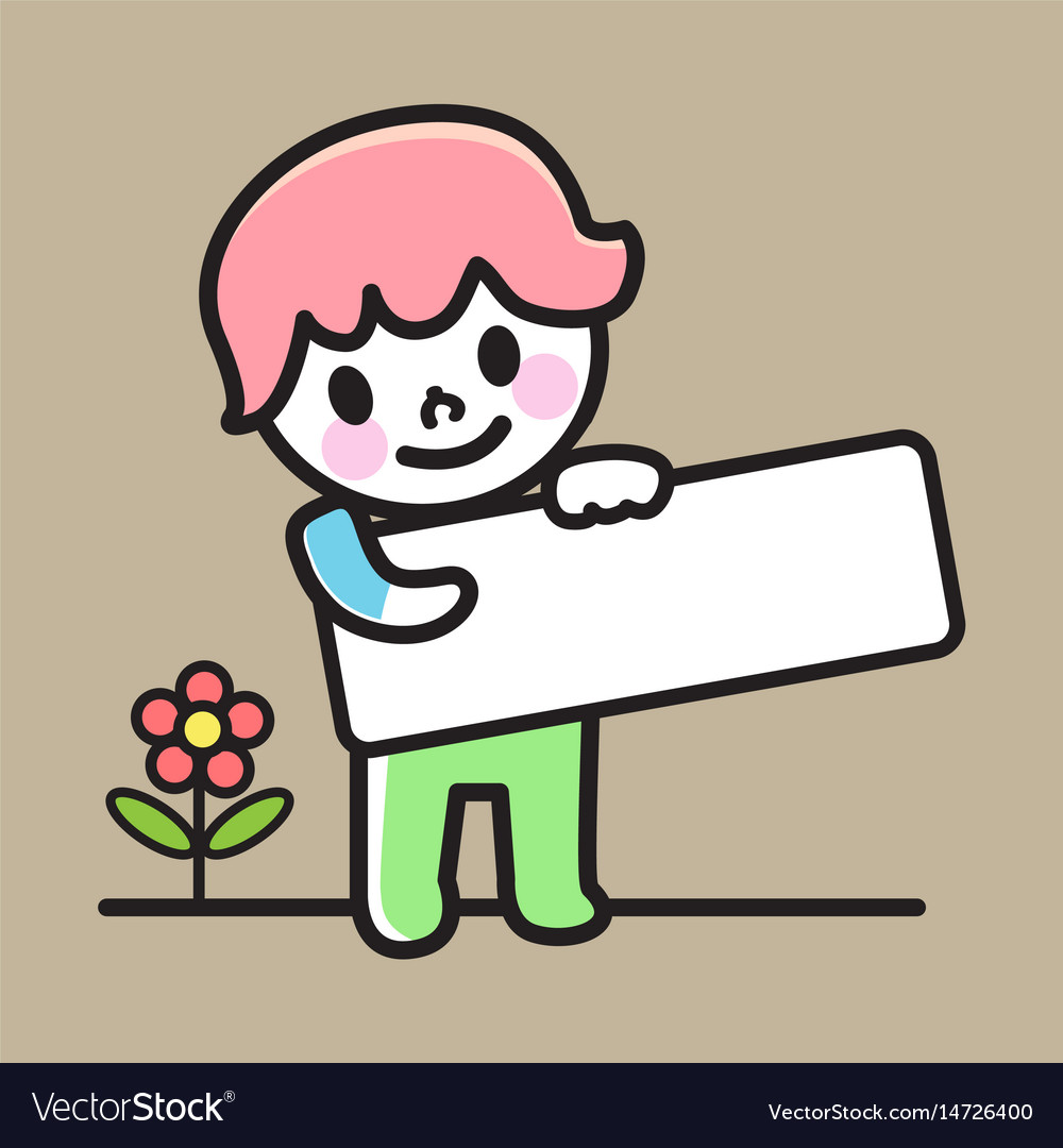 Child holding signs vector image
