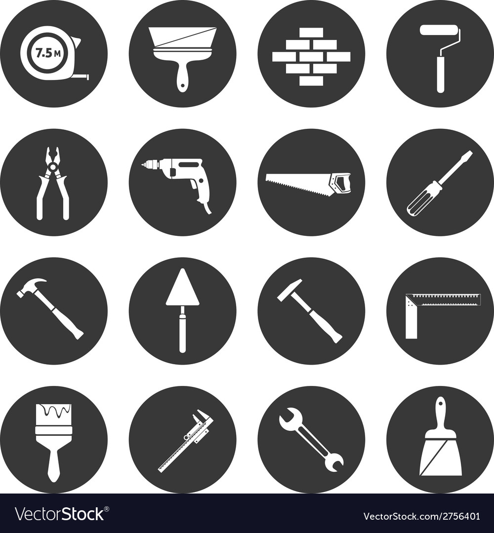 Builder instruments icons black vector image