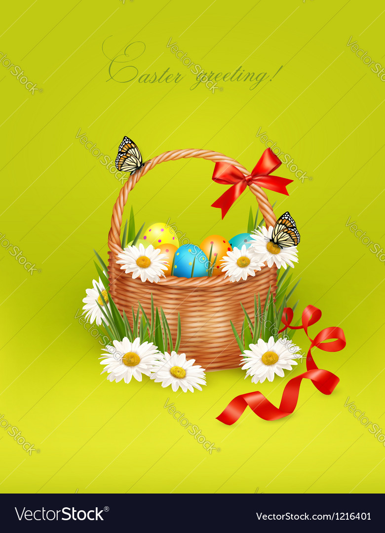 Easter background with Easter eggs in basket vector image