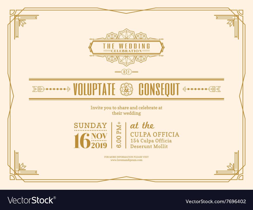 Vintage wedding invitation card frame design royalty free for Wedding invitation cards photo frame