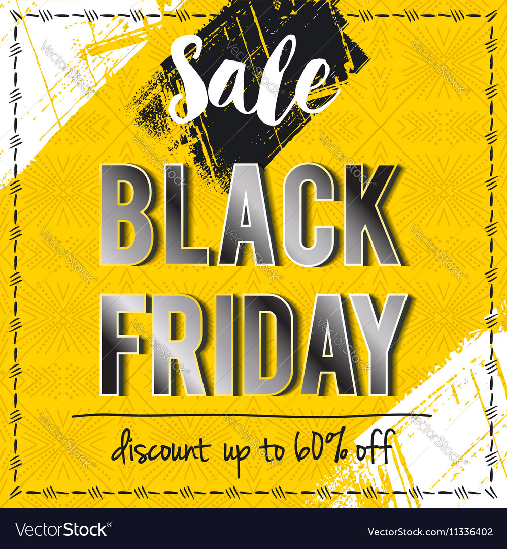 Black friday sale banner on yellow background vector image