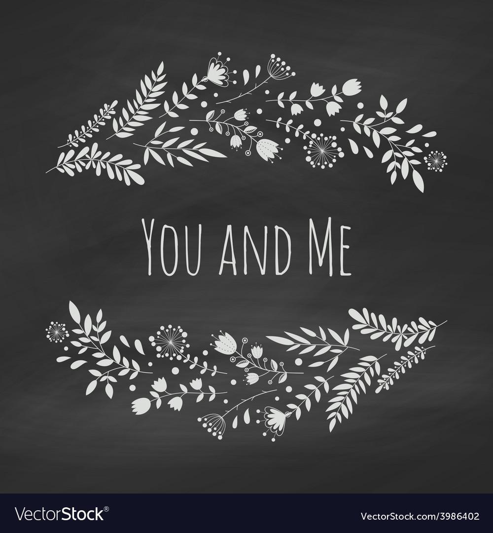 Chalk floral frame vector image