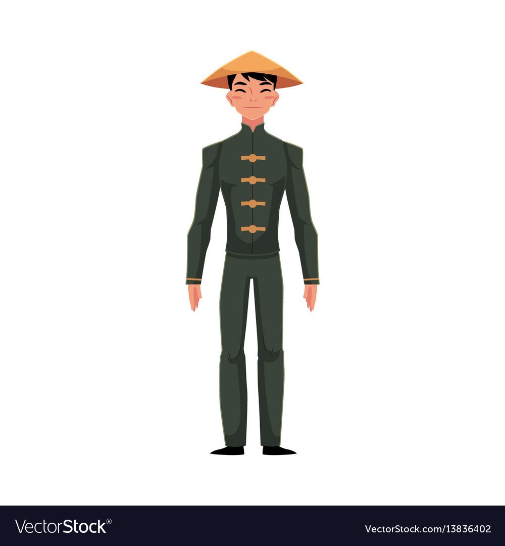 Chinese man in traditional national costume black vector image