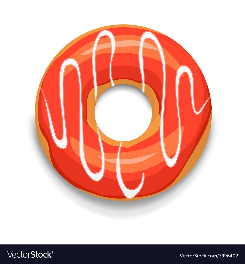 Glazed donut icon cartoon style vector image