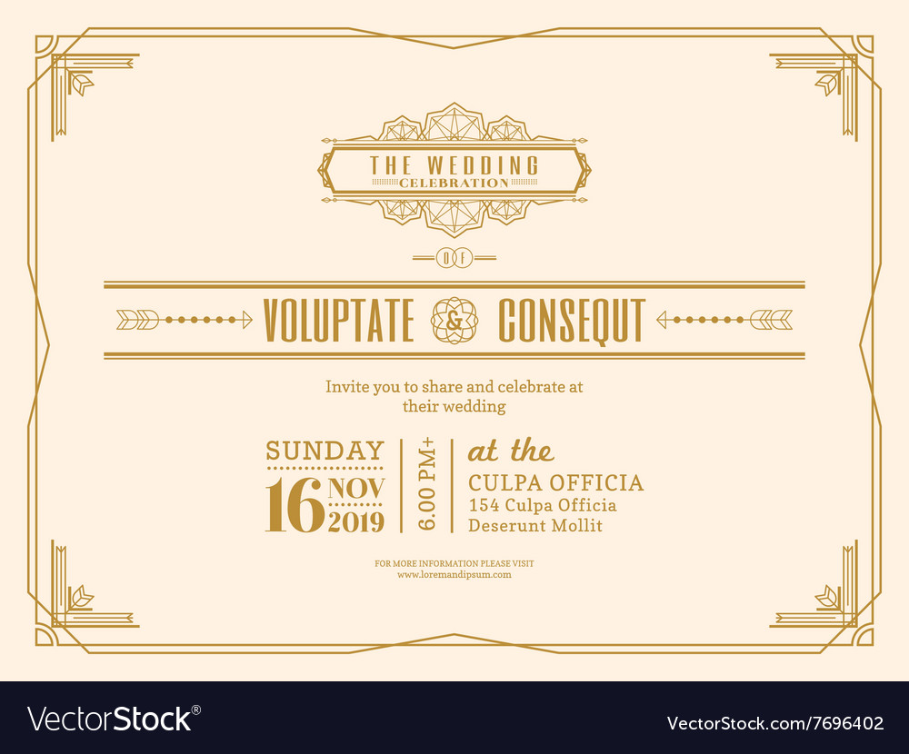 Vintage wedding invitation card frame design vector image stopboris