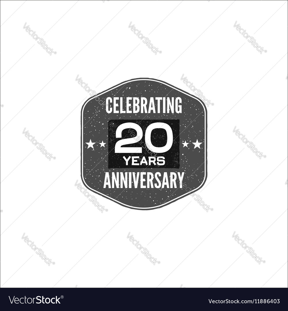 Celebrating 20 years anniversary badge sign and vector image