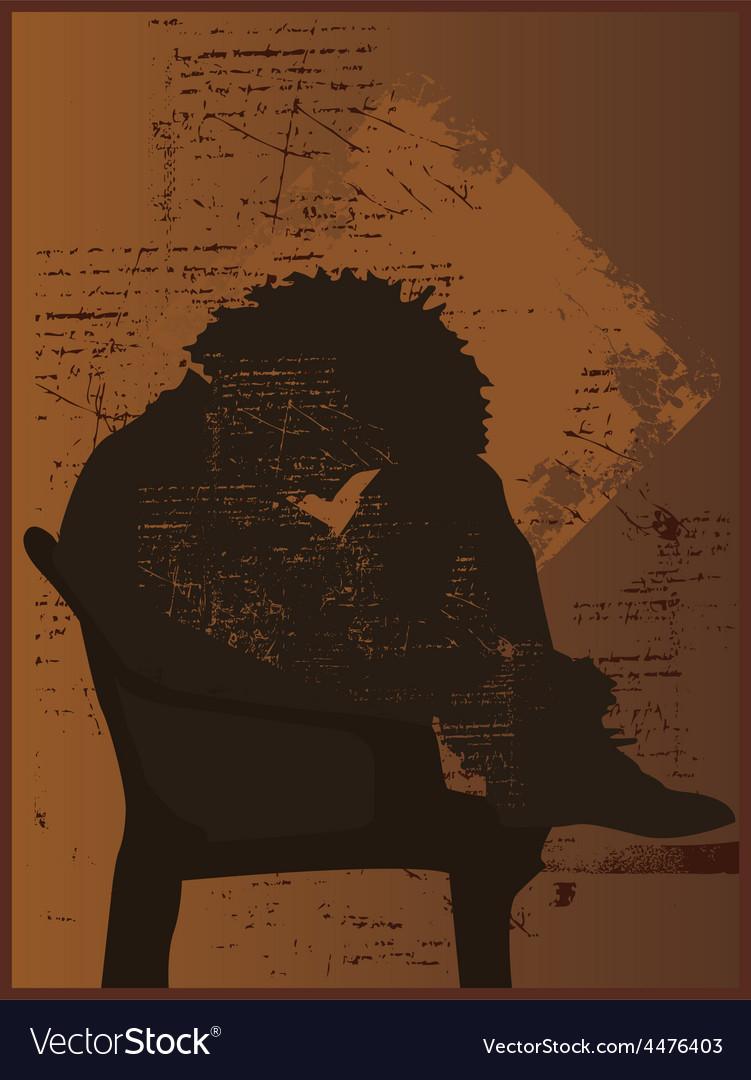 Depressed silhouette vector image