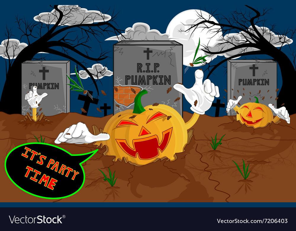 Halloween cartoon resurrect pumpkin for celebratio vector image