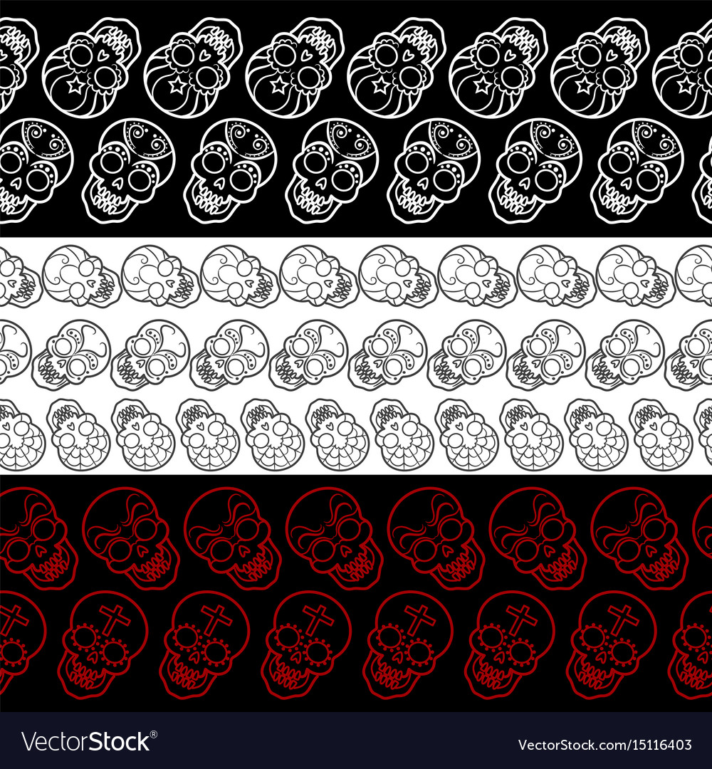 Seamless borders with decorative mexican skulls vector image