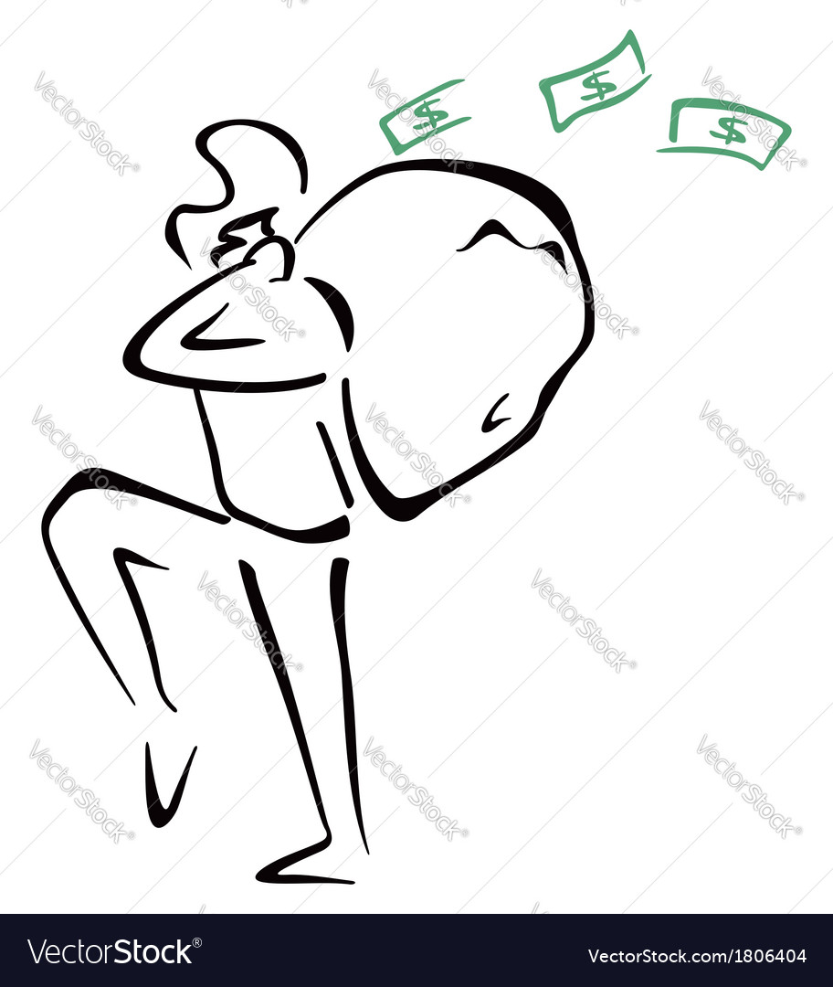 Robber with bag vector image