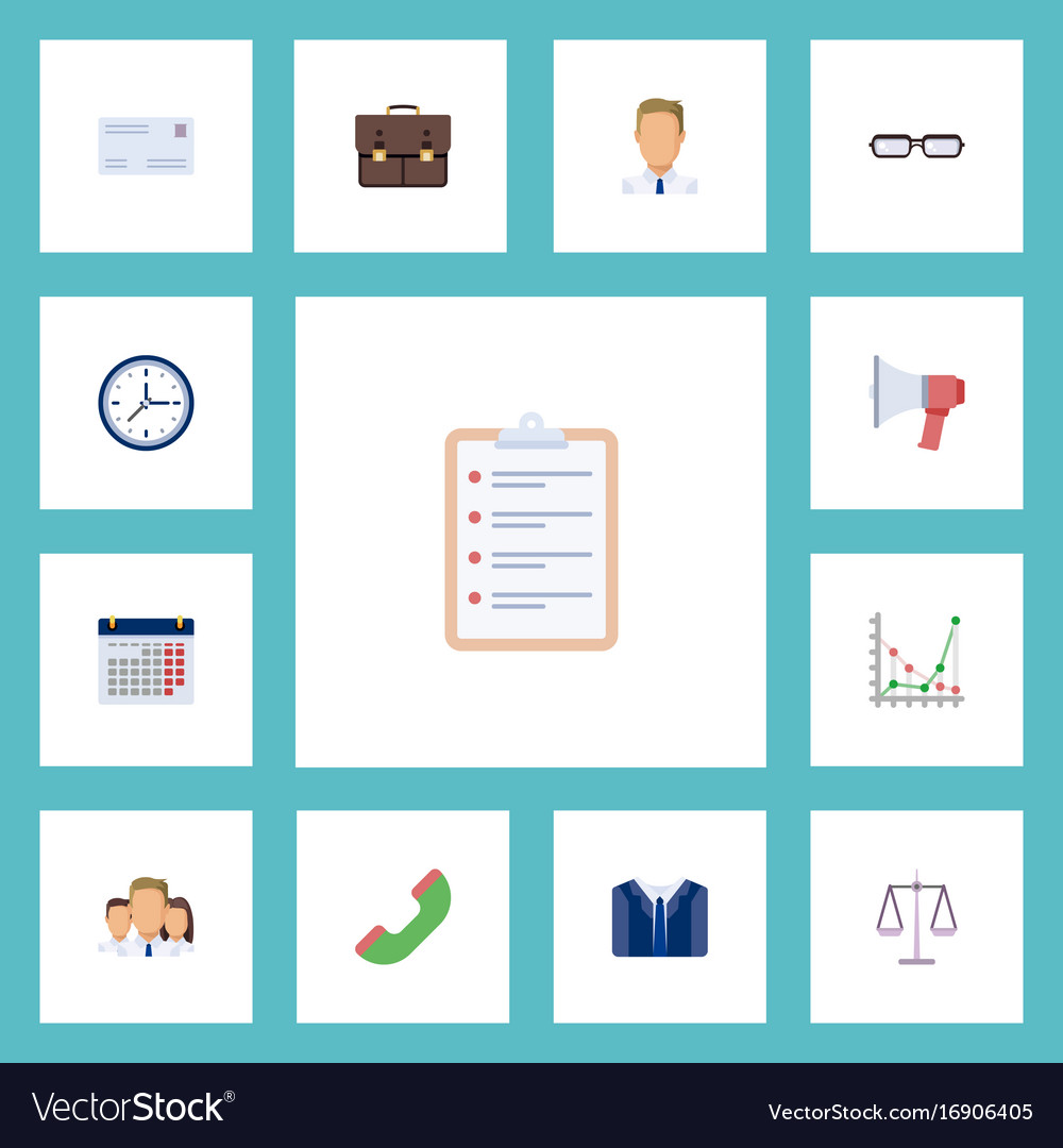 Flat Icons Costume Employee Task List And Other Vector Image  Employee Task List