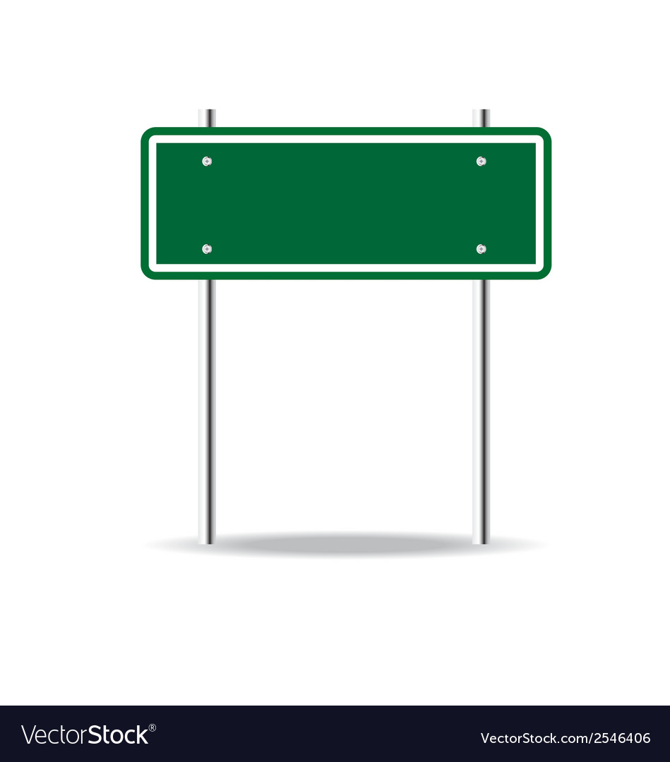 Blank green traffic road sign on white vector image