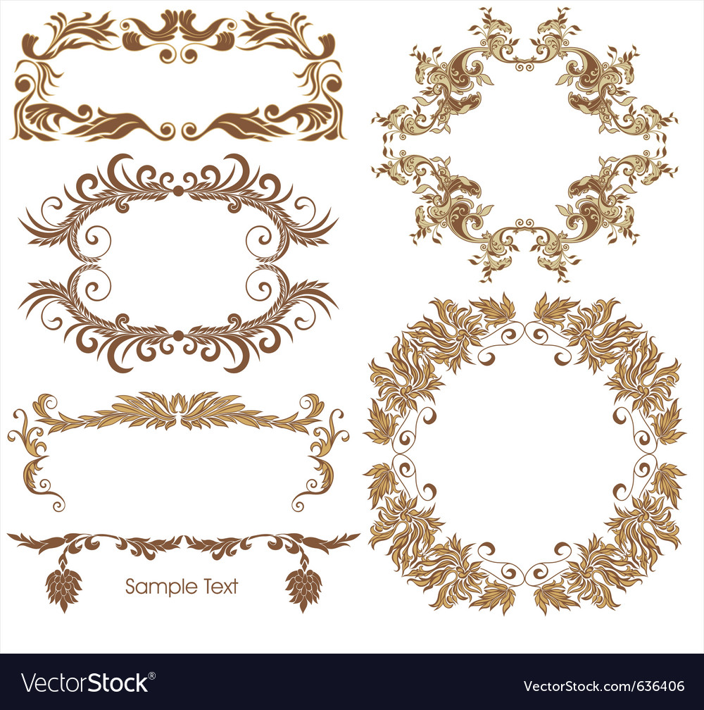 Golden borders vector image