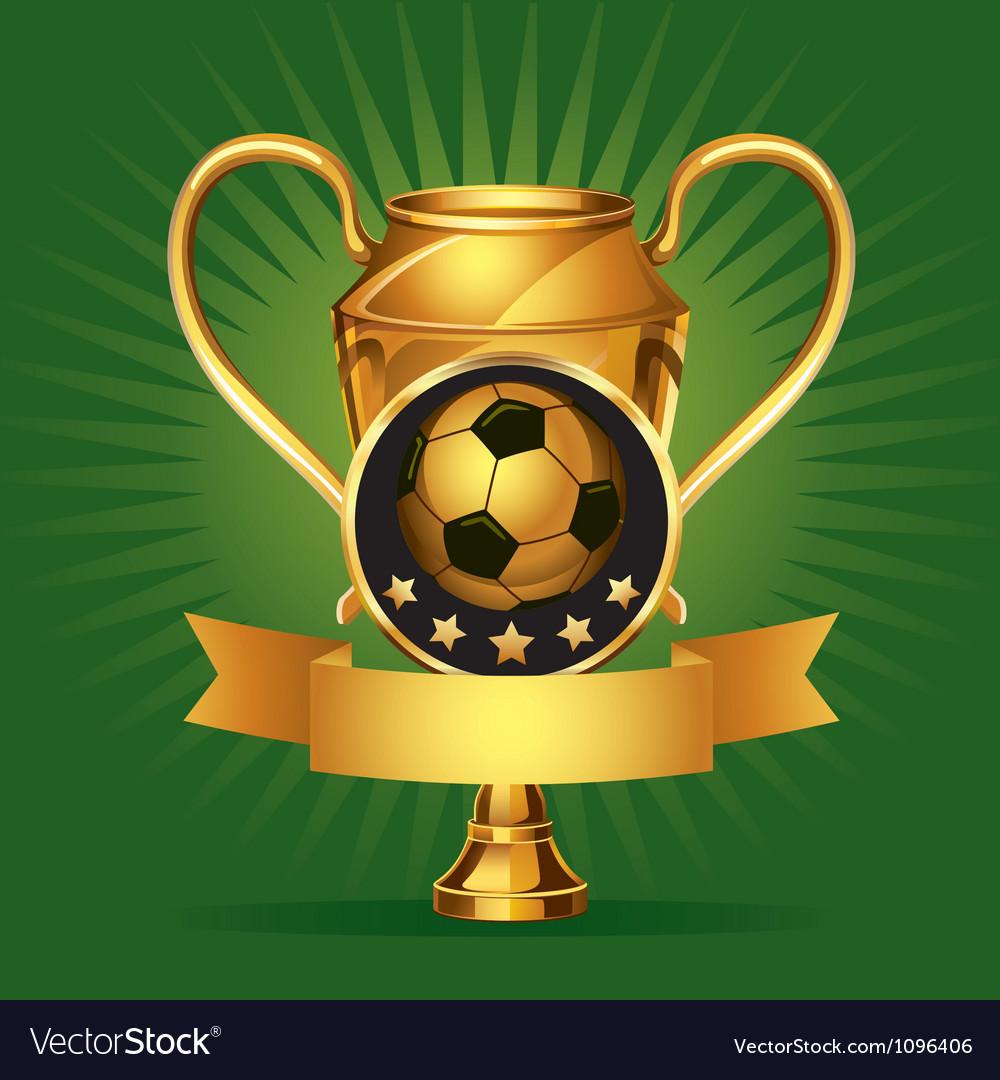 Soccer golden award trophy and medal vector image