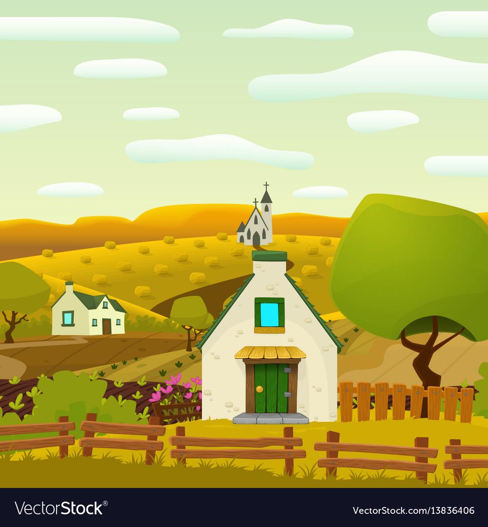 Square spring village landscape vector image