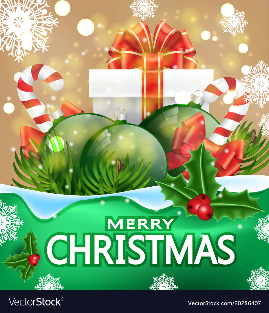 Christmas greeting card with the words merry vector image m4hsunfo