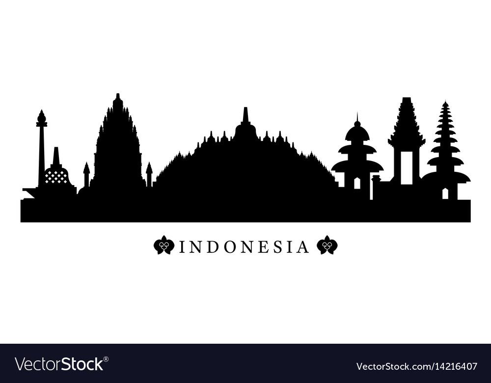 Indonesia landmarks skyline in black and white vector image