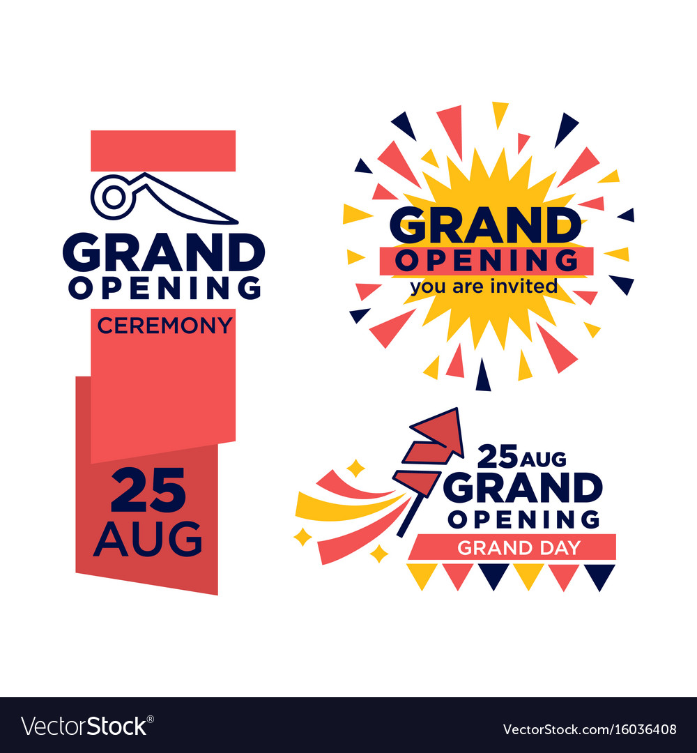 Grand opening ceremony on 25 august emblems set vector image