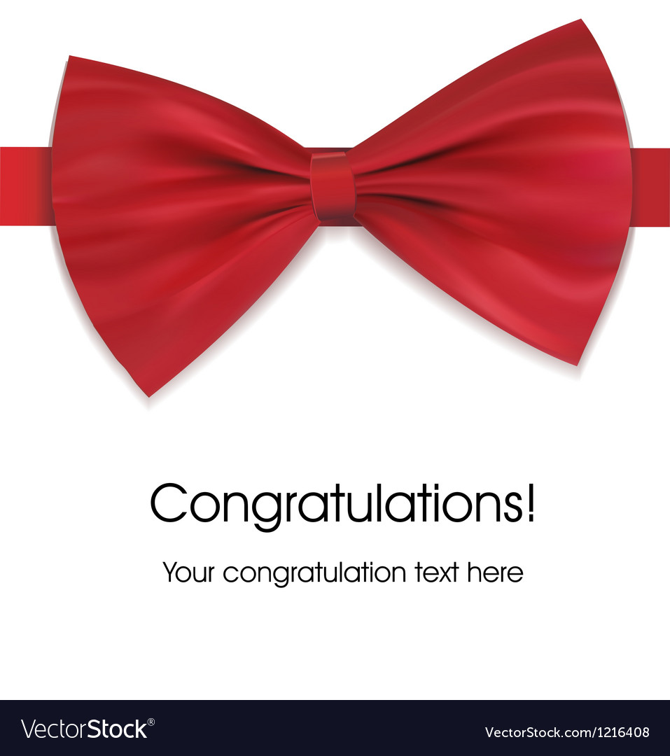 Red bow on ribbon with sample text vector image