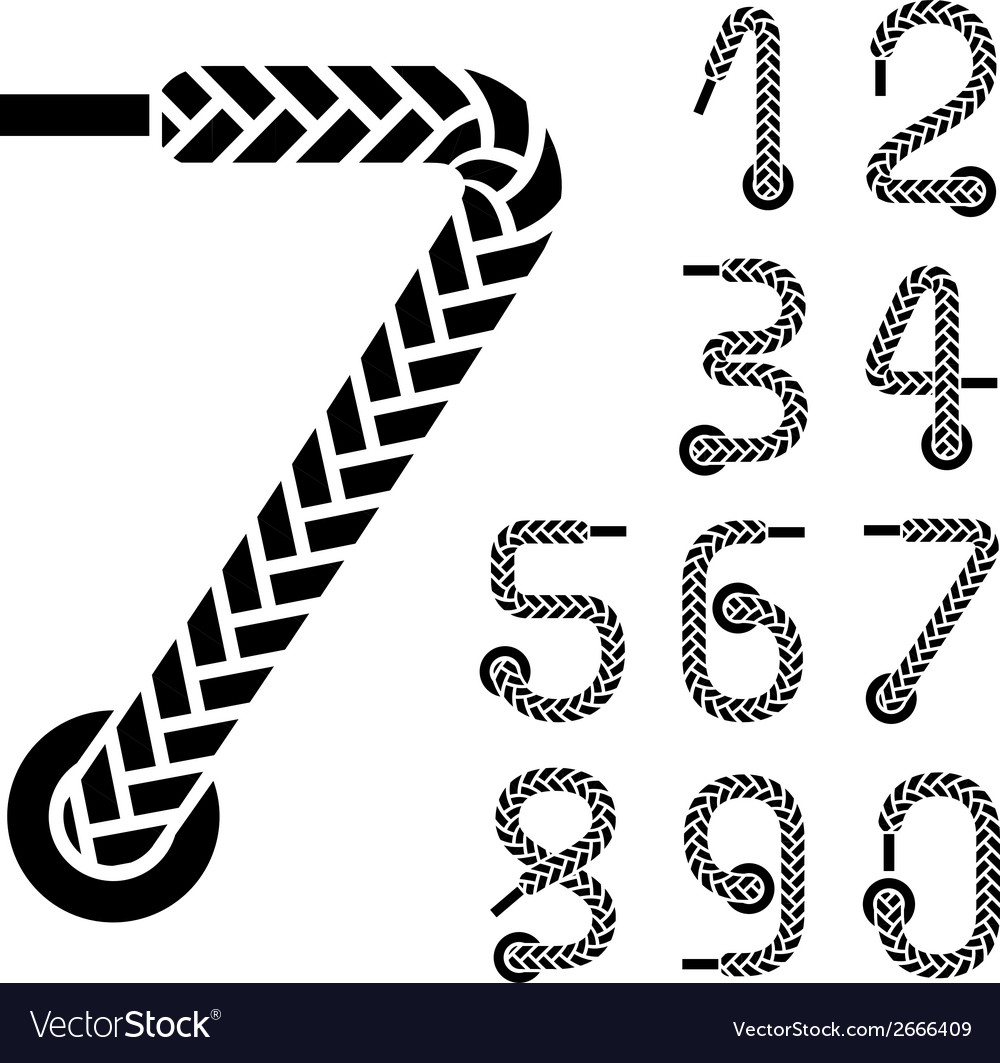Black shoe lace numbers vector image