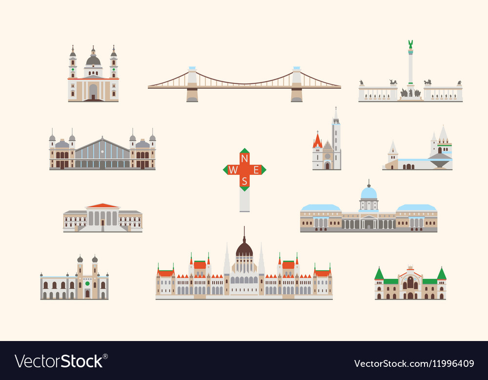 Budapest historical building vector image