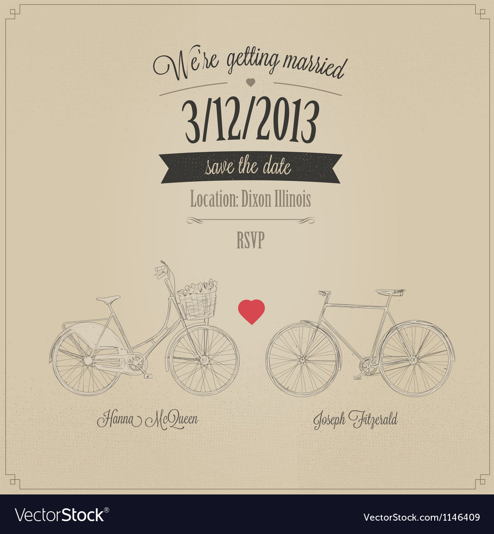 Funny grunge retro wedding invitation Royalty Free Vector