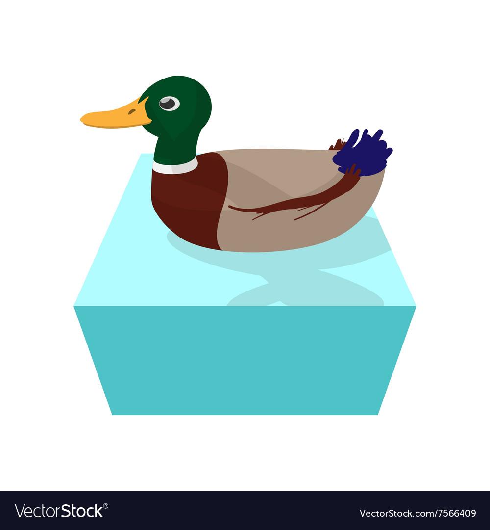 Wild duck cartoon icon vector image