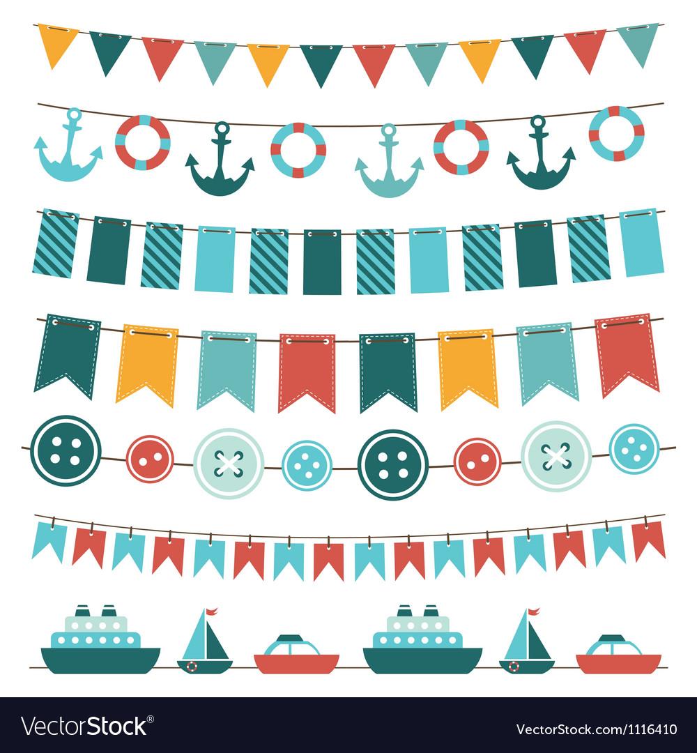 Sea theme garland vector image