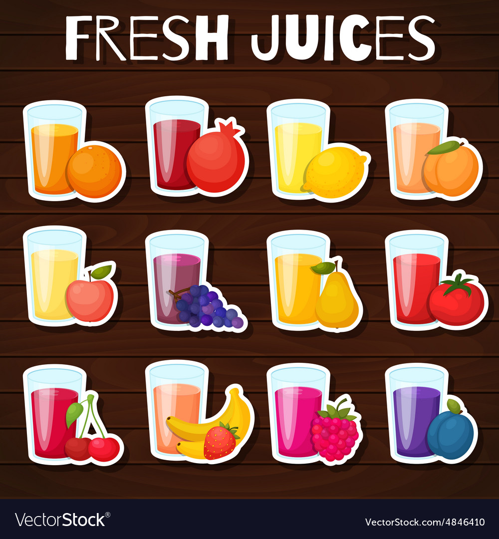 Fruits juices icons set vector image