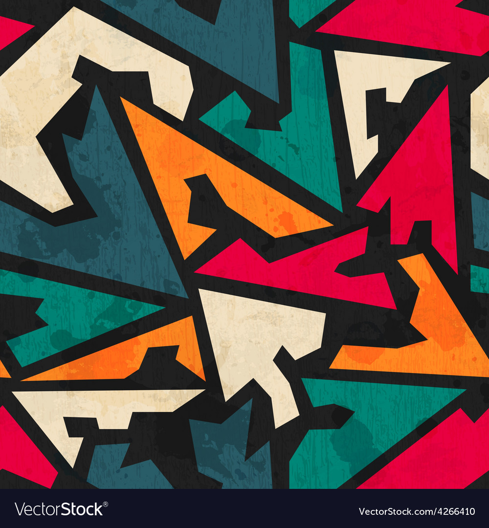Retro geometric seamless patter with grunge effect vector image