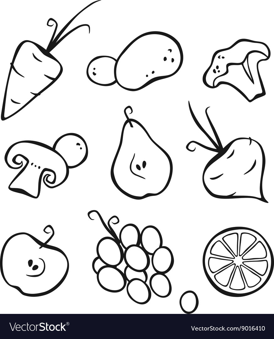 vegetables and fruits part 1 black outlines vector image