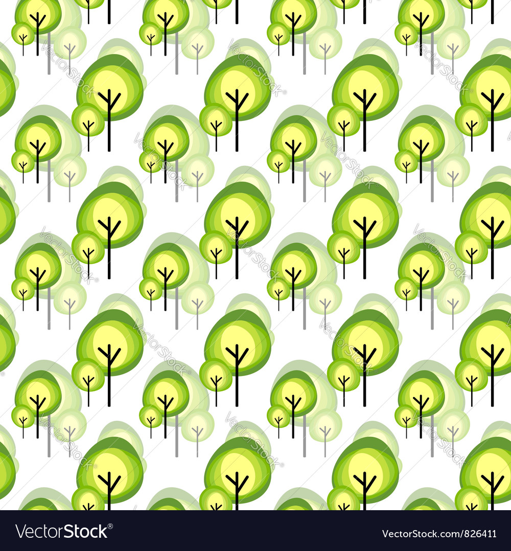 Abstract green tree seamless pattern vector image