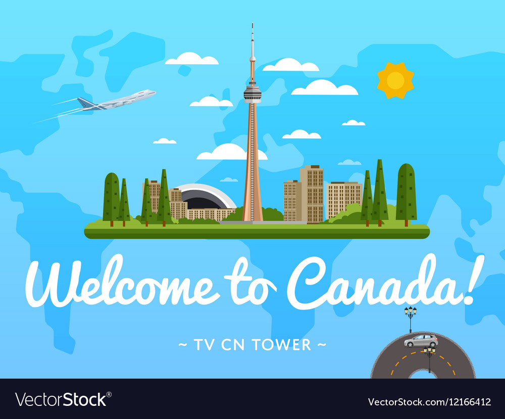 Welcome to Canada poster with famous attraction vector image