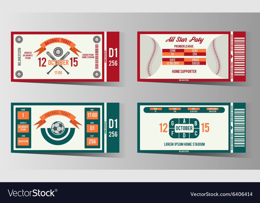 Football soccer and Baseball ticket design vector image