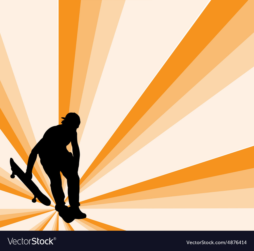 Skateboard with background - vector image