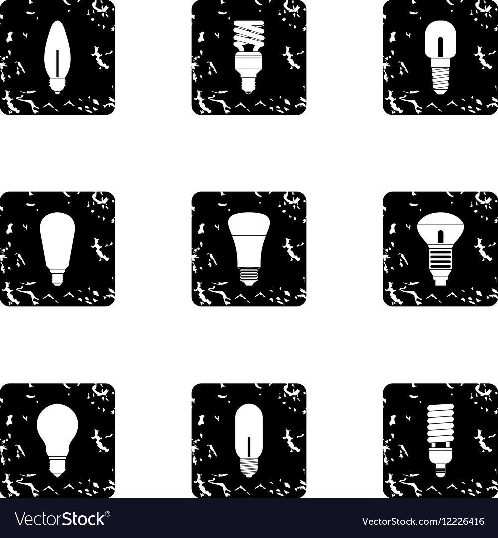 Types of lamps icons set grunge style vector image