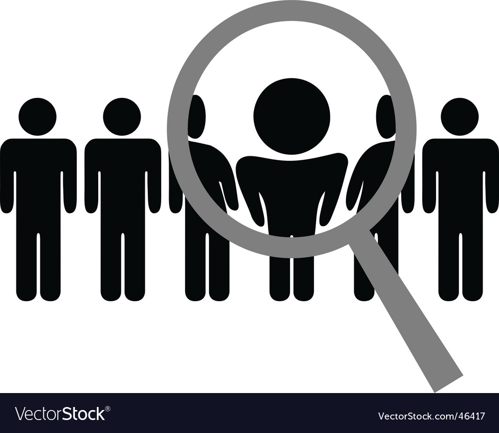 Magnifying glass chooses man vector image