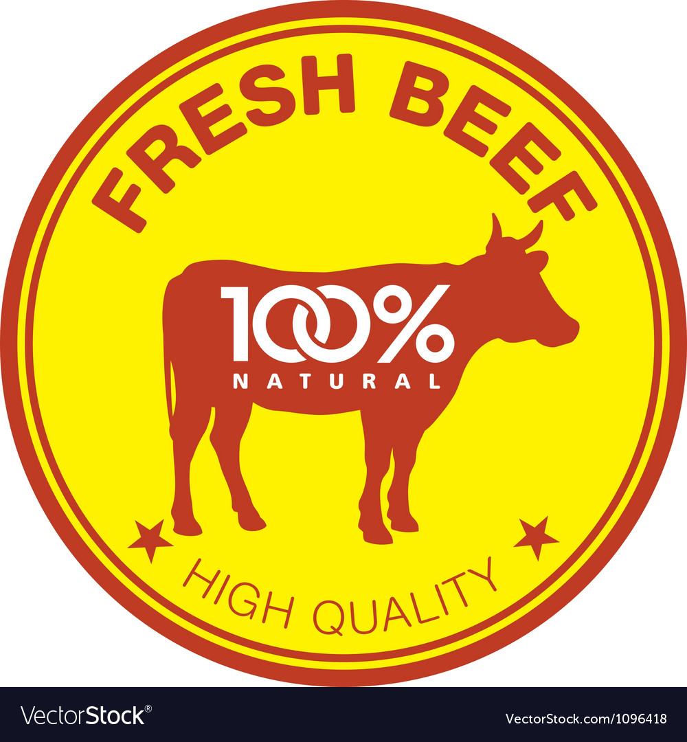 Fresh beef label vector image