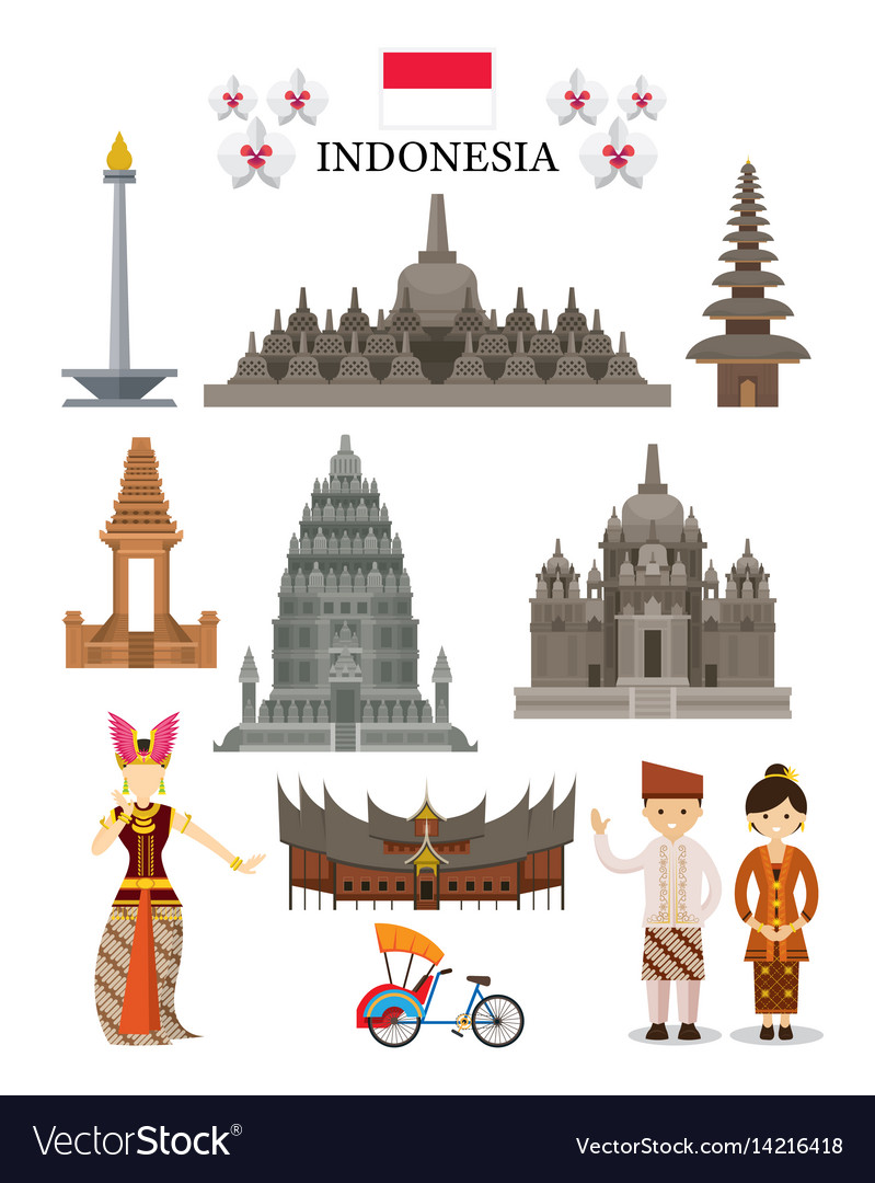 Indonesia landmarks and culture object set vector image
