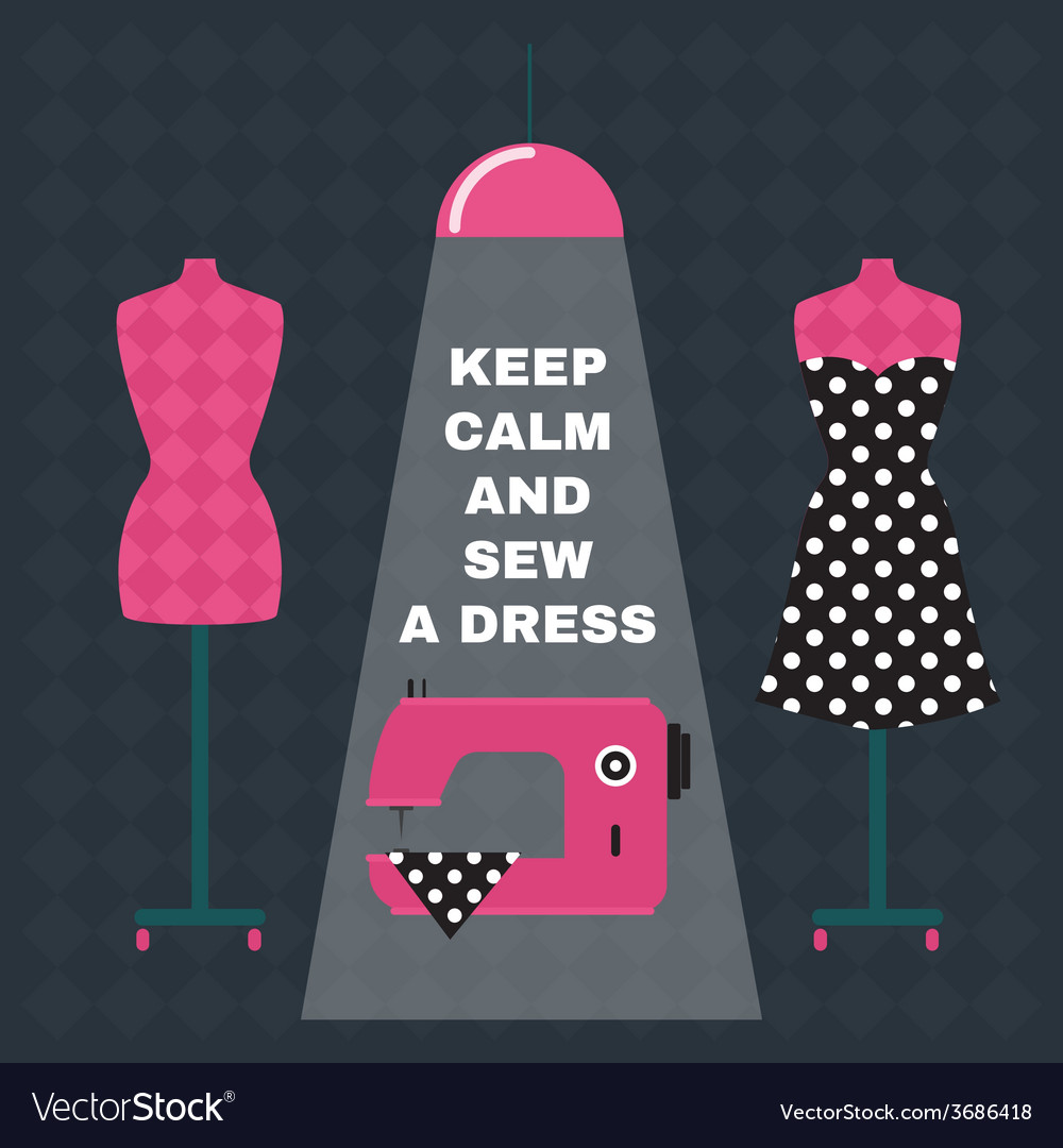 Poster greeting card with sewing accessories and vector image kristyandbryce Gallery