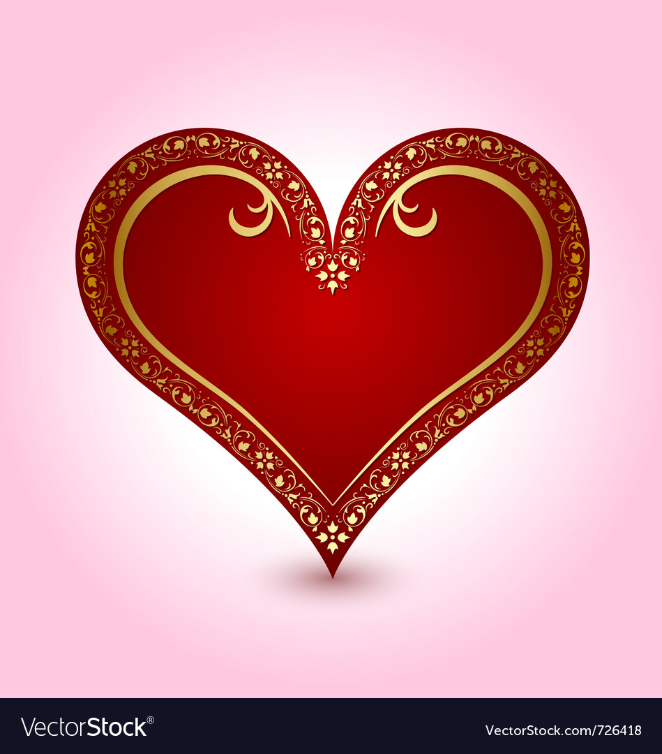 Valentines heart with ornaments vector image